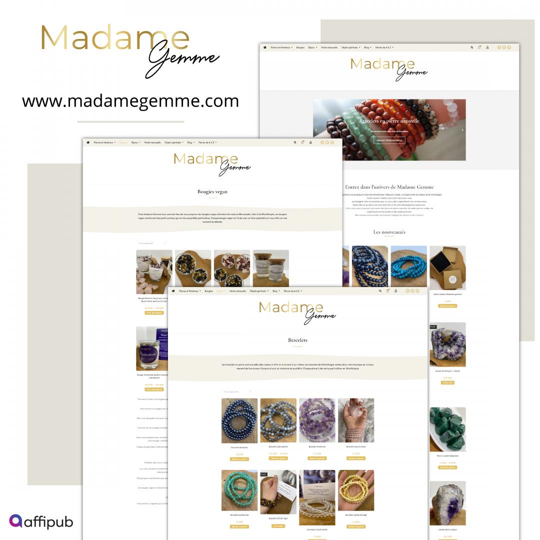 Site web e-commerce Madame Gemme